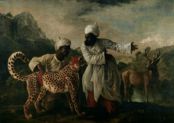 Stubbs, George: Gepard (Cheetah), Indian Servants and Deer. Fine Art Print/Poster. Sizes: A4/A3/A2/A1 (001156)